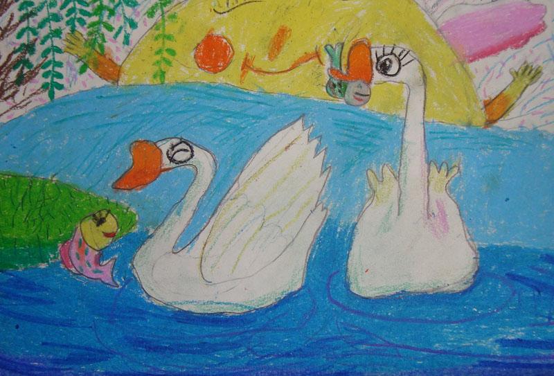 学生画 两只天鹅图片