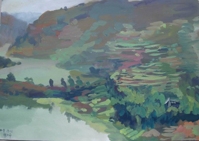 水粉画 家乡风景 之五