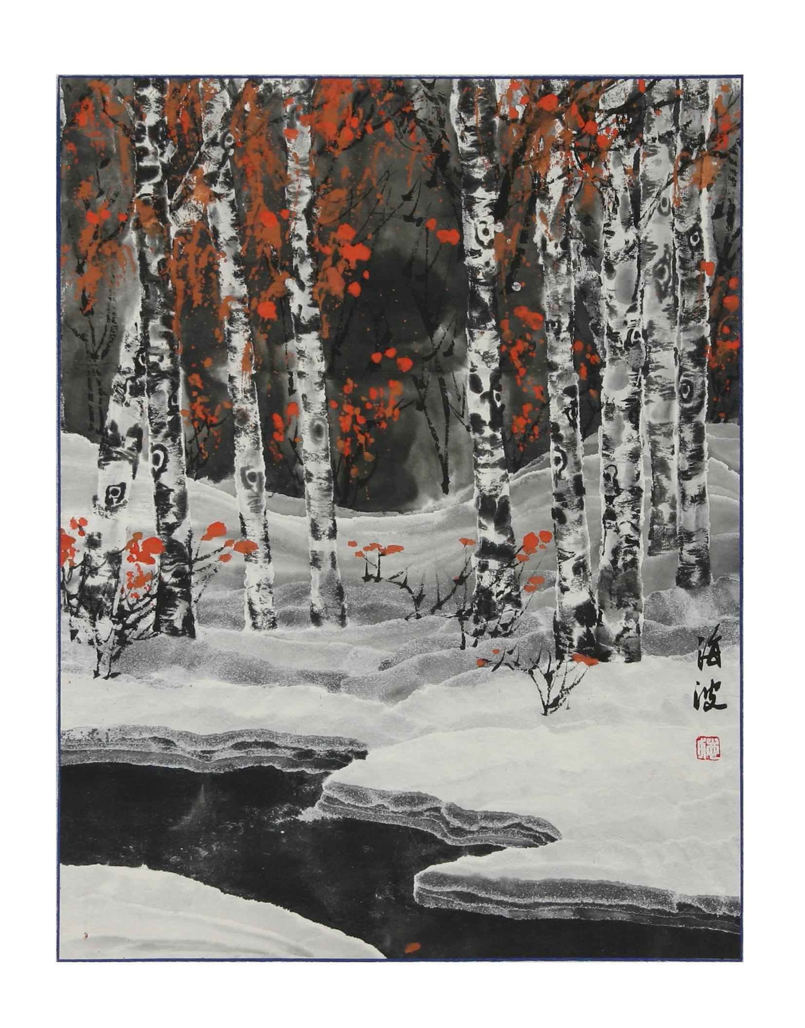 教师画《冰雪白桦林》