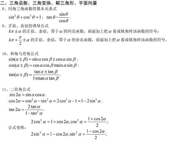 高中数学公式大全 完美版