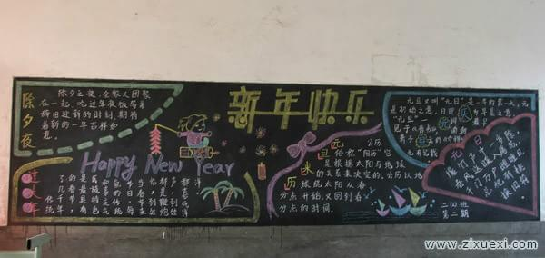 迎新年黑板报:新年贴年画