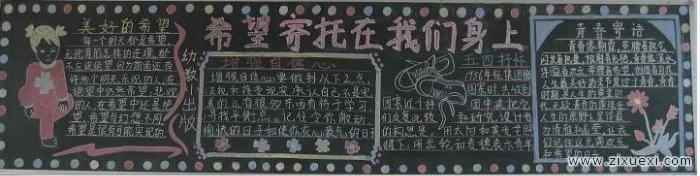 五四青年节黑板报:青春礼赞