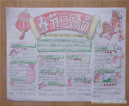 春节手抄报 我喜欢的传统文化 春节